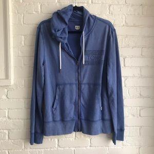 Toms blue hoodie zip up sweater shirt Medium